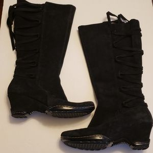 Sofft Black Suede Leather Boots, Size 6M